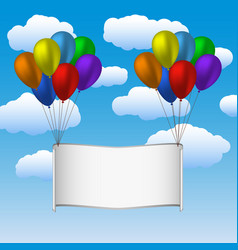 Colorfull helium balloons and banner in sky vector