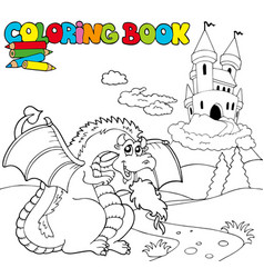 coloring book with big dragon 1 vector image