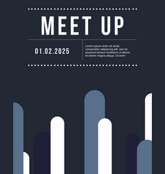 Cool colorful background meet up card design vector