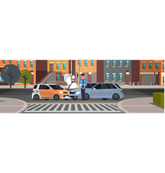 Crashed car road accident police officer vector