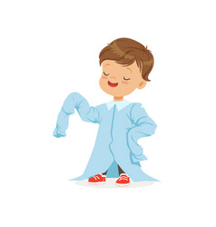 Cute boy wearing dult oversized light blue shirt vector