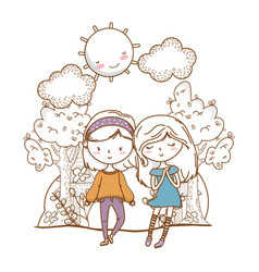 Cute couple girls friends nature background vector