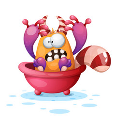 cute funny monster in the bathroom cartoon vector image