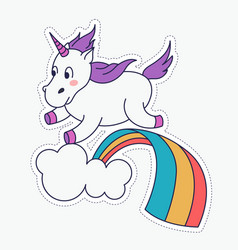 Cute magical unicorn and rainbow design vector