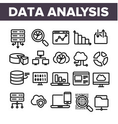 data analysis web storage linear icons set vector image