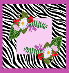 design for a square shawl or headscarf zebra vector image