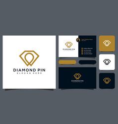 Diamond pin logo design and business card vector