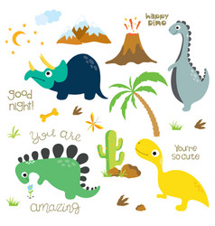 dinosaur footprint volcano palm tree stones vector image