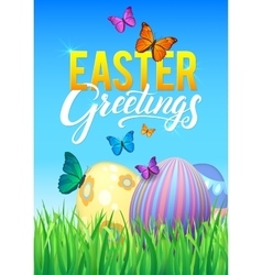 Easter eggs in Fresh Green Grass Decorated Easter vector image