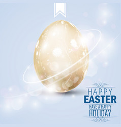 easter greetings card with golden egg vector image