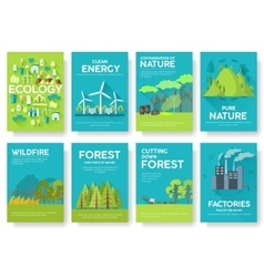 Ecology information cards set Ecological template vector