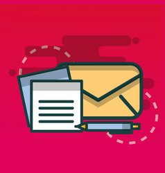 email and paper document pen office vector image