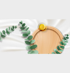Eucalyptus oil in bowl plant branch and plate vector