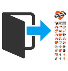 Exit door icon with dating bonus vector
