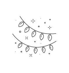 Festive light bulb garland line art icon vector