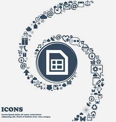 File document icon sign in the center Around the vector image