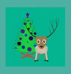 Flat shading style icon christmas tree deer vector