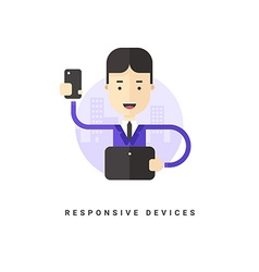Flat Style Conceptual Businessman with Smartphone vector