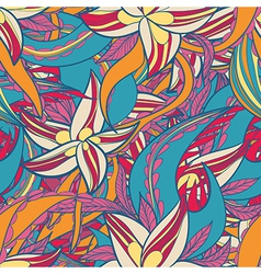 floral pattern with colorful blooming flowers vector image