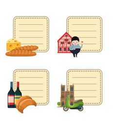 France sights stickers set vector