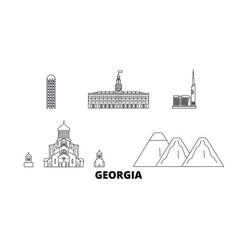 Georgia line travel skyline set georgia outline vector