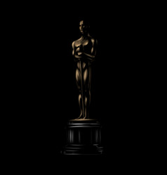 golden award or trophy academy award icon on a vector image