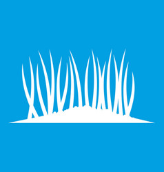 Grass on ground icon white vector