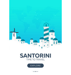 Greece santorini time to travel travel poster vector