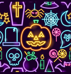 halloween neon seamless pattern vector image
