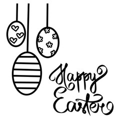 Happy easter paschal eggs black hearts flowers vector