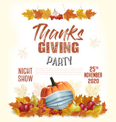 happy thanksgiving flyer with colorful leaves vector image