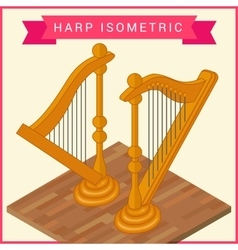 Harp flat isometric icon vector image