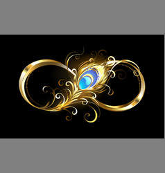 Infinity with golden peacock feather vector