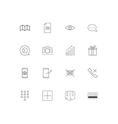 Interface linear thin icons set outlined simple vector