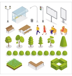 Isometric City Isometric People Urban Elements vector