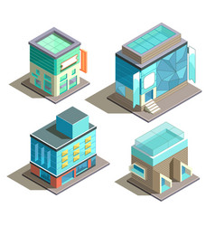 isometric set modern buildings vector image