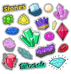 Jewels stones and minerals colorful set vector