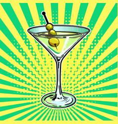 liquor alcohol cocktail pop art vector image