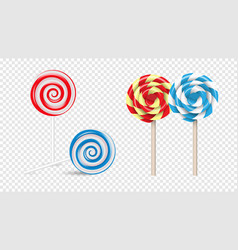 lollipops swirl colored round sugar candies vector image