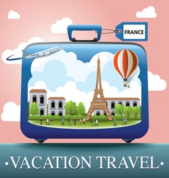 Luggage and travel vacation to France vector image