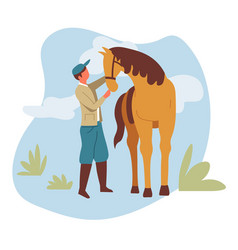 Man and horse equestrian or farmer rancher and vector