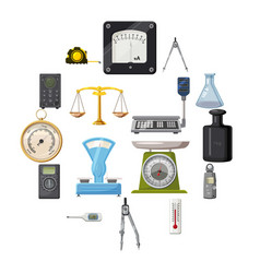 Measure precision tools icons set cartoon style vector