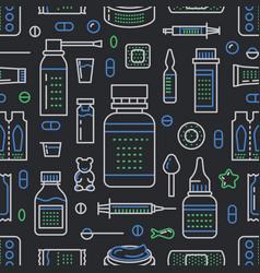 medical drugstore seamless pattern pharmacy vector image