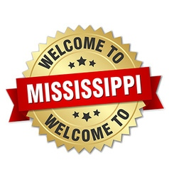 Mississippi 3d gold badge with red ribbon vector