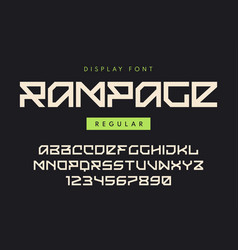 Modern regular display font named rampage vector