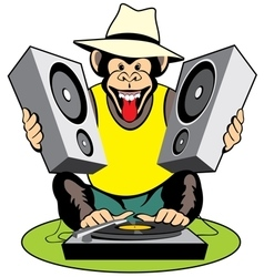 Monkey disc-jockey vector image