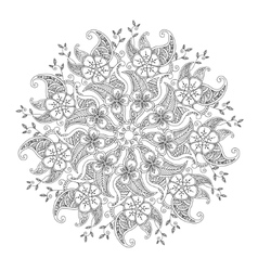 Monochrome mehndi mandala with flowers and leaves vector