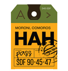 moroni airport luggage tag vector image