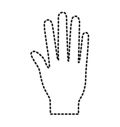 open palm hand gesture on dotted silhouette vector image