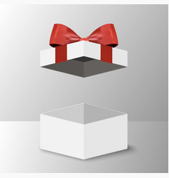 opened gift box with red bow vector image